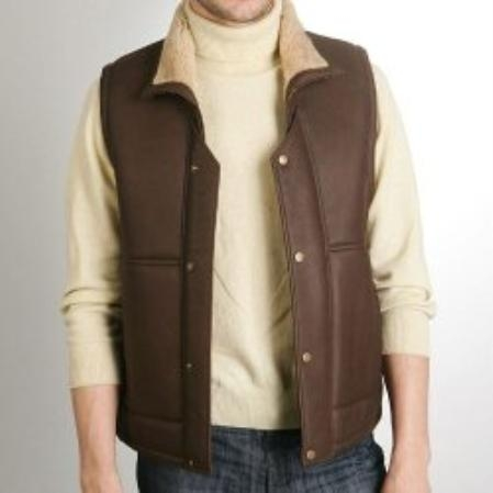 SKU#LP127 Mens Classic Sheepskin Shearling Vest $799
