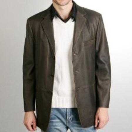 SKU#SB136 Mens Classic Three-Button Cowhide Leather Blazer $272