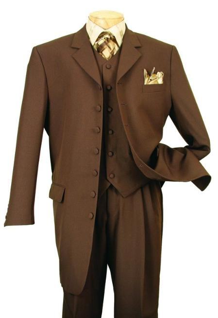 SKU# GCL494 Mens Co Co Dark Brown Long Fashion Dress Suits $199