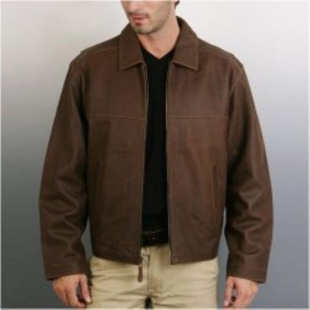 SKU#SL810 Mens Cowhide Leather Straight-Bottom Jacket $149
