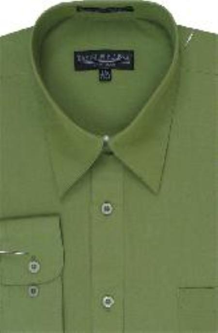 SKU#GN711 Mens Dark Lime Dress Shirt $39
