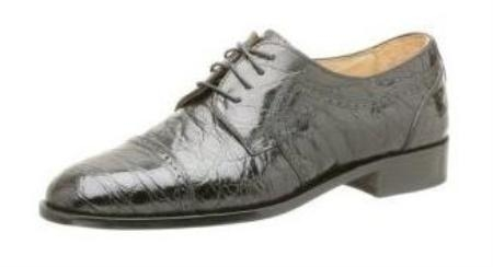 SKU# IHI930 Mens Davinci Cap Toe Oxford Zelli Shoes - Black Croc