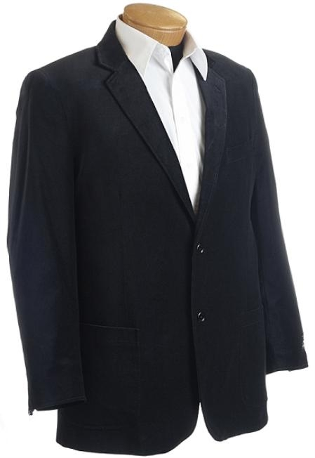 SKU#CN2832 Mens Designer Black Velour Sports Jacket $149