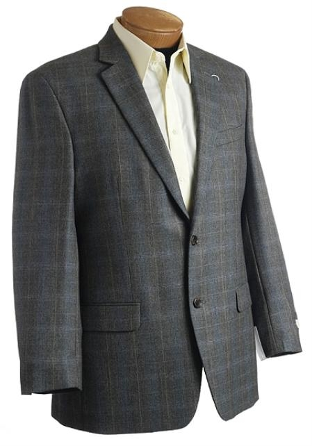 SKU#YU1567 Blazer Coat Mens Designer Classic Window Pane Wool Sports Jacket Brown