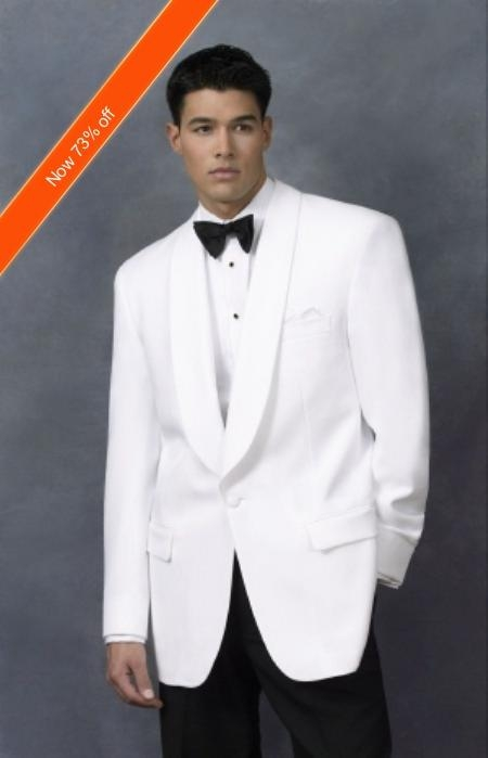 SKU#CD3921 Mens Dinner Jacket in White Shawl Collar 1 Button + Free Bowtie
