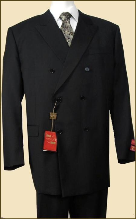 SKU#KJ5642 Mens Double Breasted Suit Jacket + Pleated Pants Super 140s 100% Wool Solid Black