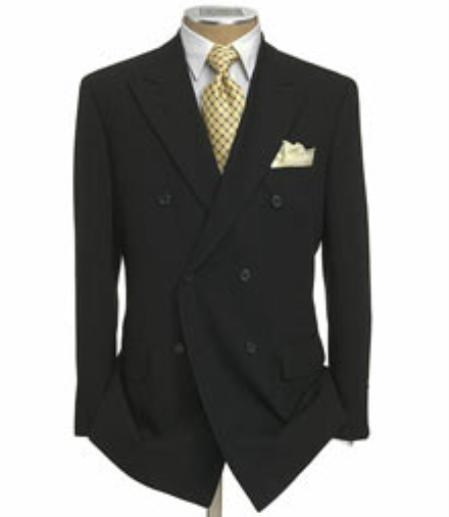 SKU#KL8901 Mens Double Breasted Suit Jacket + Pleated Pants Super 140s 100% Wool Solid Black