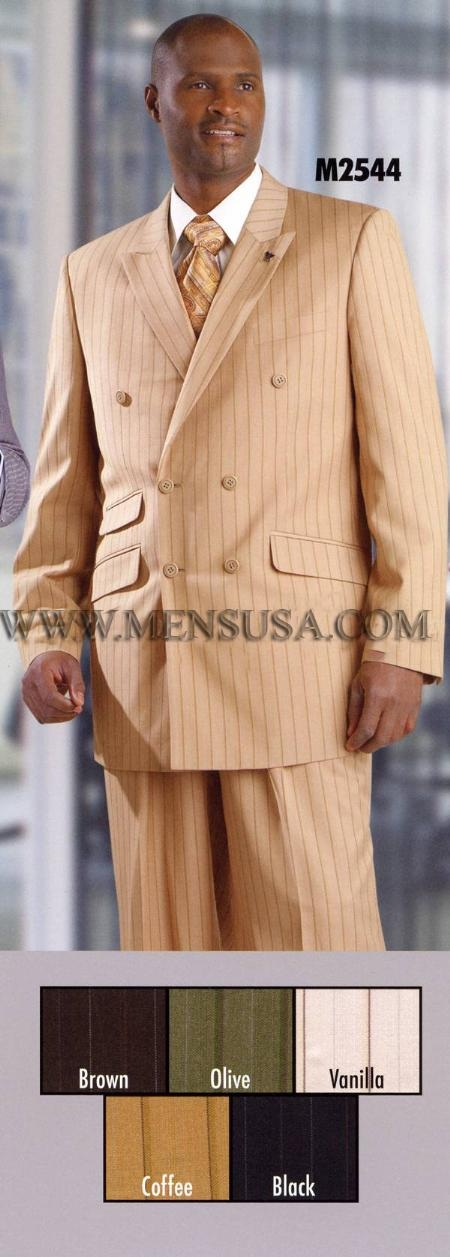 SKU#TV7787 Mens Double Breasted Suit Coffee $149