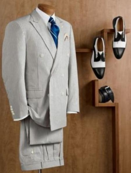 SKU#HX9800 Mens Double Breasted Blue Seersucker Suit (Jacket + Pants) $175