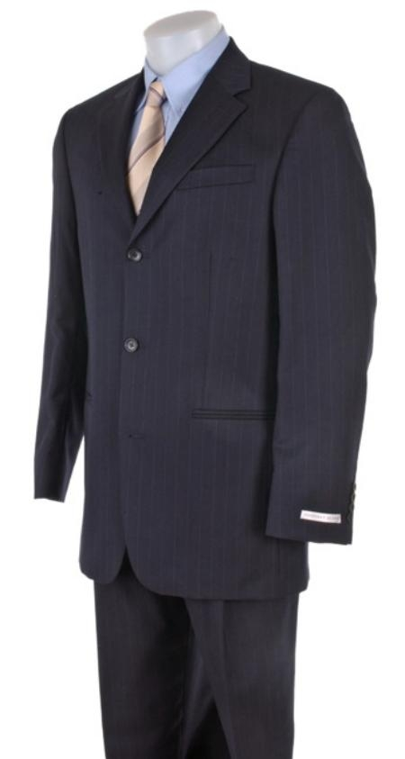 MensUSA.com Mens Dress Business Dark Navy Ton on Ton Super 140s Wool(Exchange only policy) at Sears.com