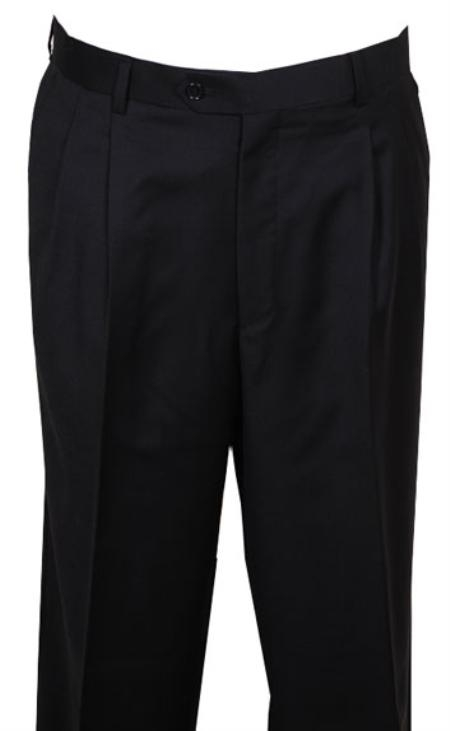 SKU#RH333 long rise big leg slacks Mens Dress Pant Black wide Leg Pleated baggy dress trousers $99