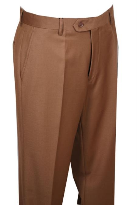 SKU#BN311 Mens Dress Pants Camel ~ Khaki without pleat flat front