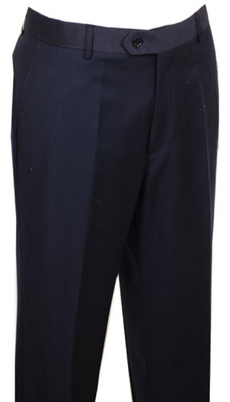 SKU#WK444 Mens Dress Pants Navy without pleat flat front