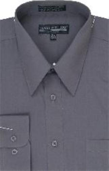 SKU#RJ800 Men's Dress Shirt Charcoal
