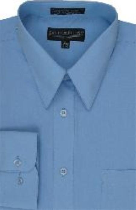 SKU#LJ103 Mens Dress Shirt Light Blue