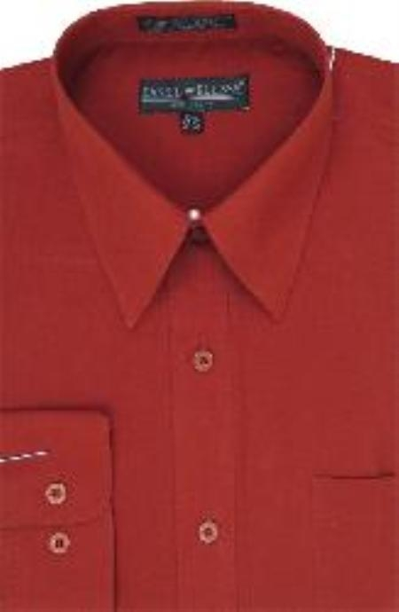 SKU#JU812 Mens Dress Shirt Brick $25