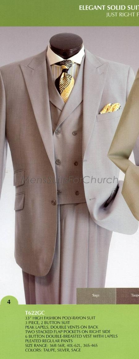 SKU#TN38920 Mens Elegant Solid three piece suit Vittorio St. Angelo Taupe $149