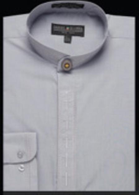 SKU#MQ430 Mens Embroidered Banded Collar Shirt Gray $950