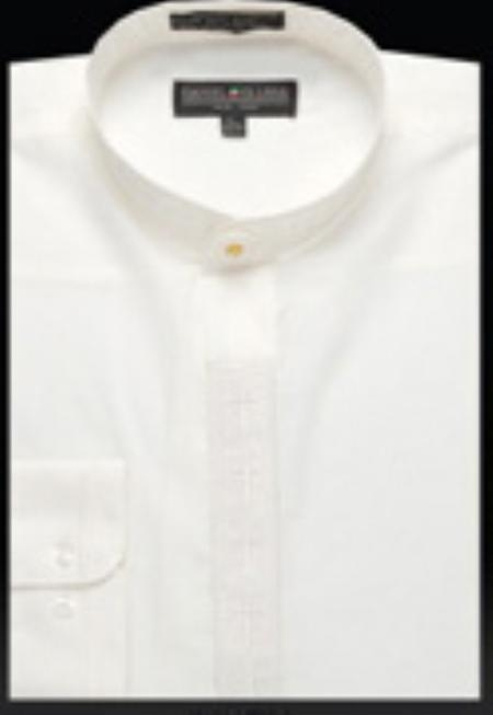 SKU#FL671 Mens Embroidered Banded Collar dress shirts without collars Mandarin Collarless Ivory $65