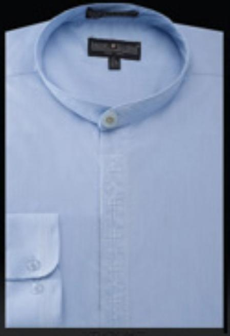 SKU#TA942 Mens Embroidered Banded Collar dress shirts Mandarin Collarless Light Blue $65