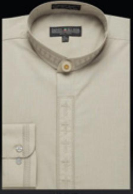 SKU#ZU209 Mens Embroidered Banded Collar Shirt Olive $950
