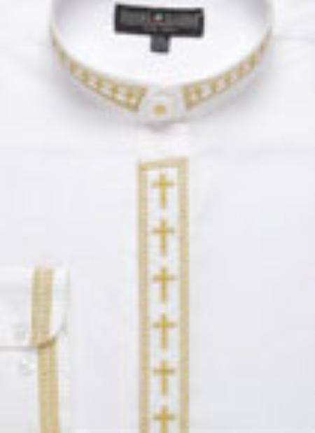 SKU#ME432 Mens Embroidered Banded Collar Shirt $49