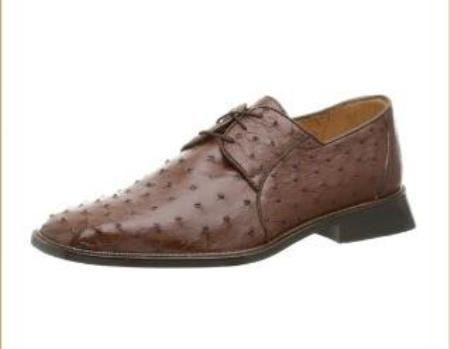 Belvedere Mens Fabio Oxford Made of Ostrich Brown