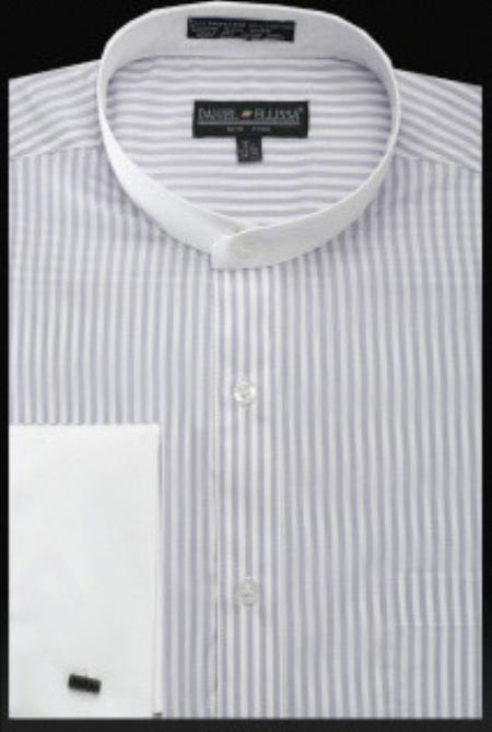 SKU#JS386 Mens Fancy Banded Collar French Cuff Shirt Lilac $49