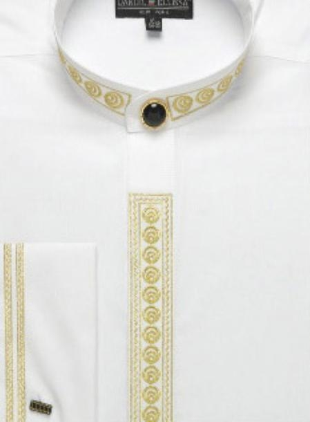 SKU#RK564 Mens Fancy Banded Collar French Cuff Shirt $49