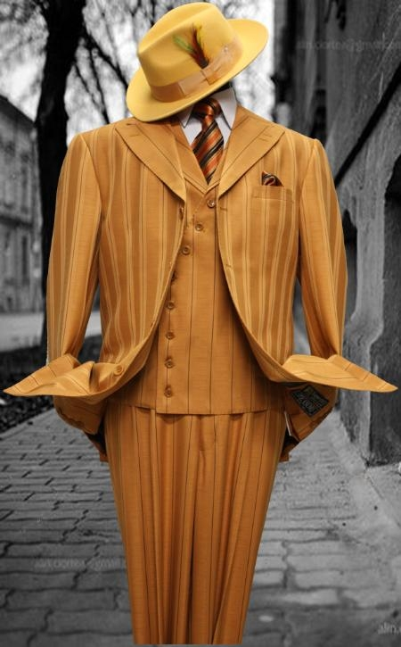 SKU#HU1947 Mens Fashion Brick Pin Stripe 3PC With Vest & Wide Leg Pants $199