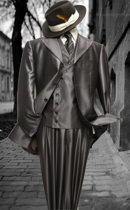 SKU#UH54332 Mens Fashion Brown Shark Skin Suit 3PC With Vest & Wide Leg Pants $199