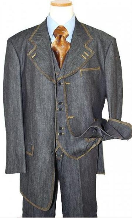 SKU#MU8303 Mens Fashion Denim Suit. 3 Piece 100% cotton denim Cotton Fabric suits with gold stitching $199