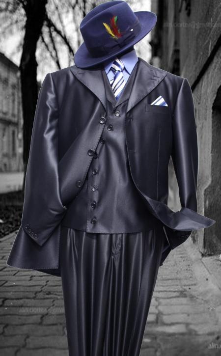 SKU#VR2011 Mens Fashion Navy Shark Skin Suit 3PC With Vest & Wide Leg Pants $199