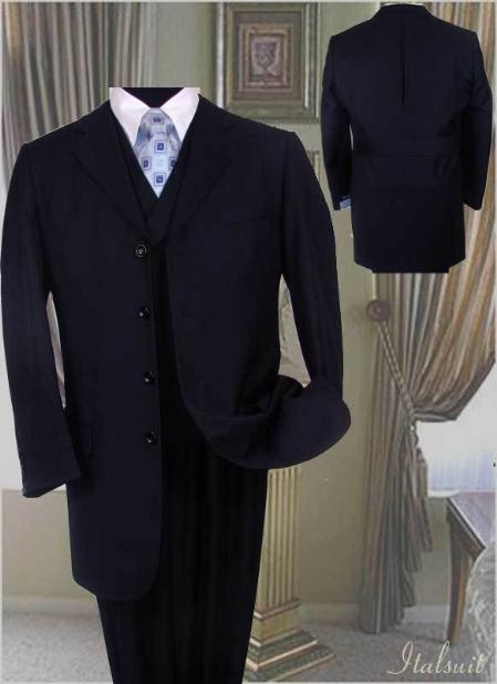 SKU#KJ970 Mens Fashion Navy Blue Suit 3PC With Vest & Wide Leg Pants $179