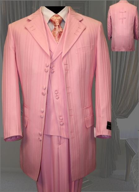 SKU#AL048 Mens Fashion Pink Tone on Tone Pattern Suit 3PC $179