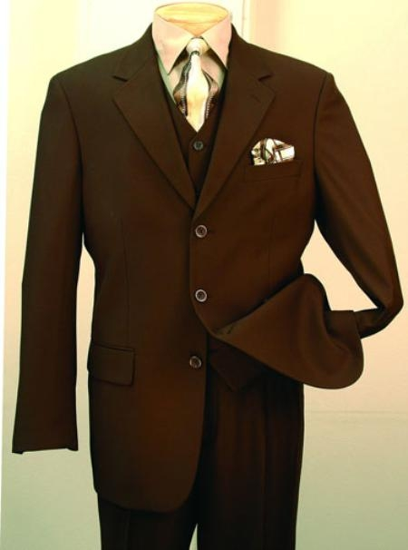 1940s Zoot Suit History & Buy Modern Zoot Suits Mens 3 Piece Suit Brown 3 Button Jacket Wool with Vest Cheap $125.00 AT vintagedancer.com
