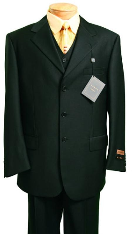 1900s Edwardian Men's Suits and Coats Mens 3 Piece Suit Black 3 Button Jacket Wool with Vest Cheap $149.00 AT vintagedancer.com