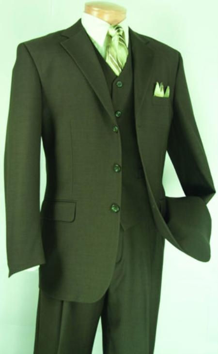SKU#KS1919 Mens Fashion three piece suit in Super 150s Luxurious Wool Feel Olive $149