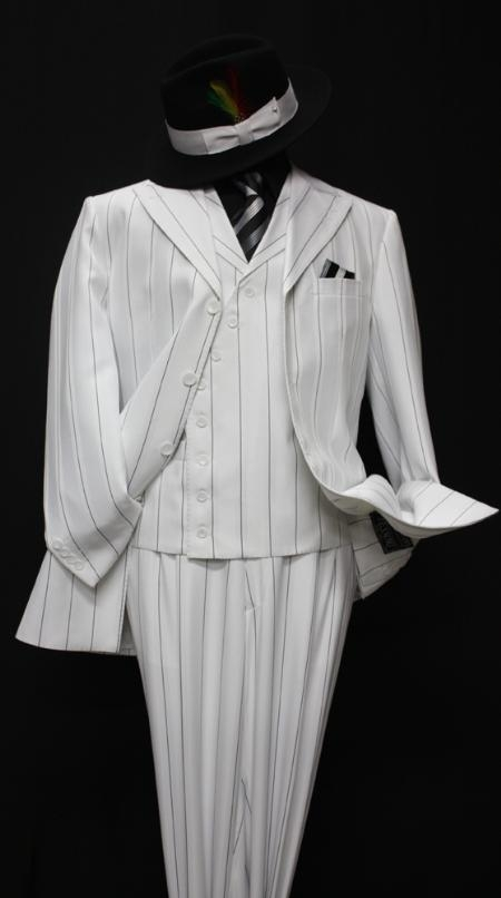 SKU#BR4930 Mens Fashion White Pin Stripe 3PC With Vest & Wide Leg Pants $179