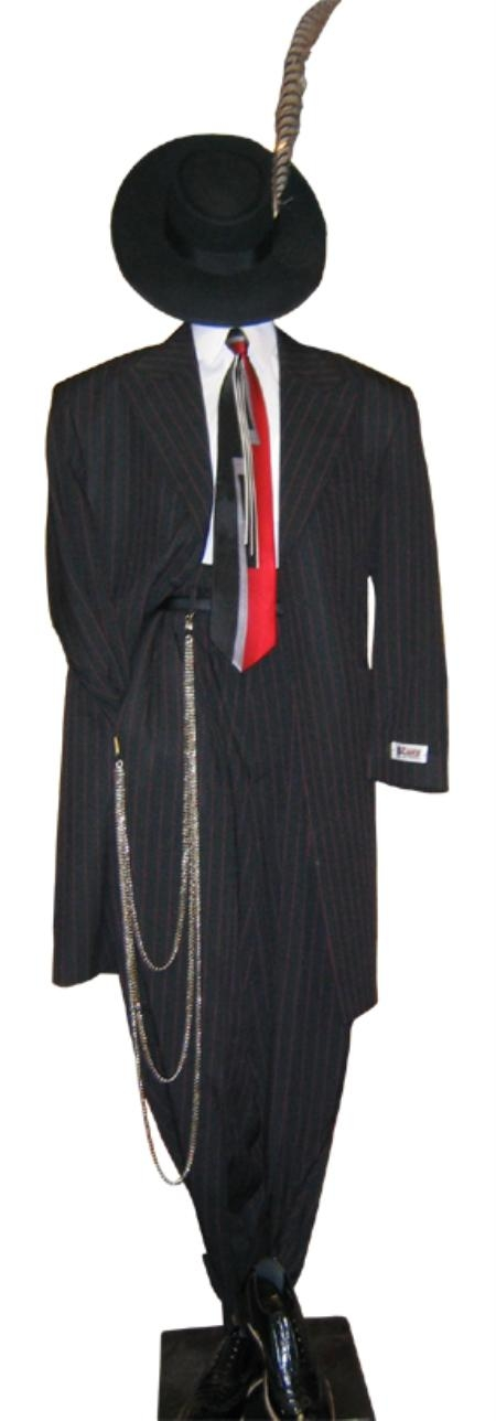 SKU# PT93 Mens Fashionable Italian Black & Red Pinstripe Dress Zoot Suit Package Price $199