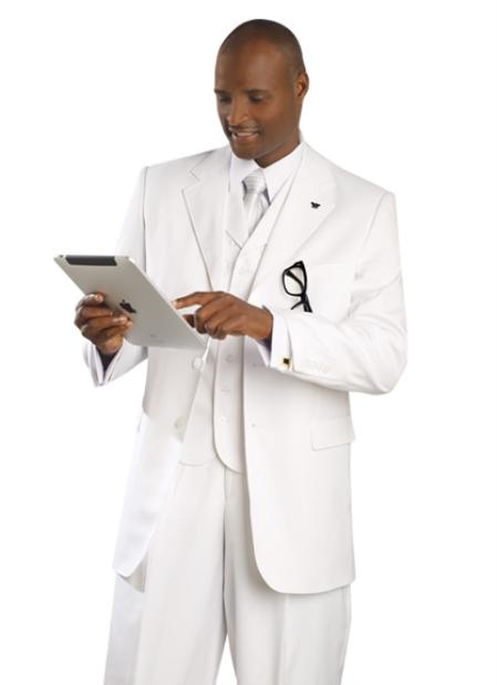 SKI#OM2507 Mens Fashionable Suit - White $179