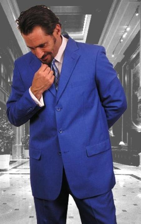 SKU#MUAC4 Mens Festive Royal Blue Single Breasted Men Dress Suits $109