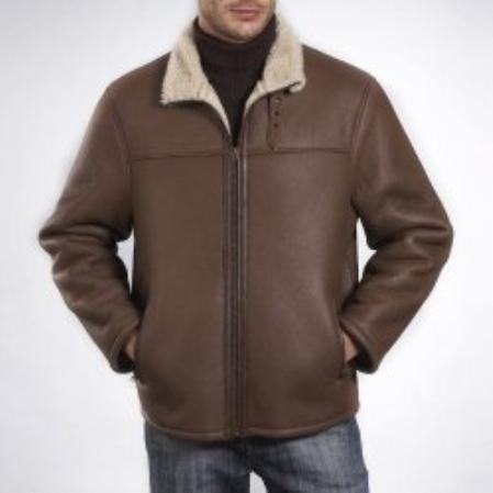 SKU#SL609 Mens Flight Lamb Shearling Bomber Jacket $449