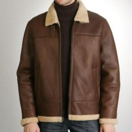 SKU#CB611 Mens Flight Lamb Shearling Bomber Jacket $475