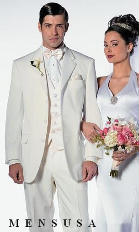 SKU#EIL_Y72  Mens Formal Ivory Off Wihte Cream 3 Button Notch Lapels Tuxedo Suits $199