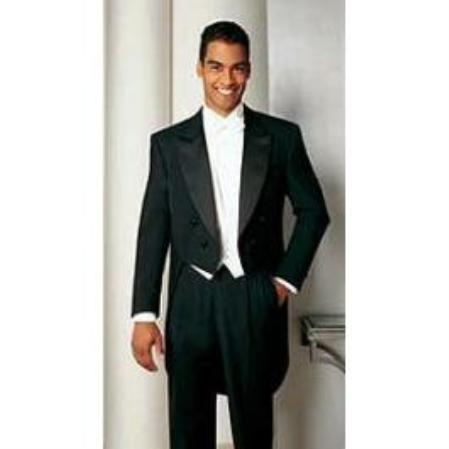 SKU#RB647 Men's Formal Tails - Peak Tailcoat Black