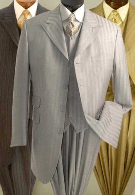 SKU#AA213 Mens Four Button Three Piece Tone-on-Tone Stripe Suit $139
