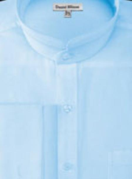 Men S French Cuff Banded Collar Shirt