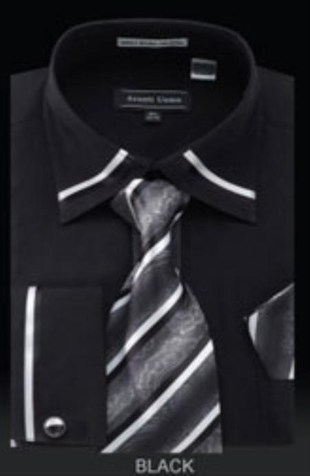 SKU#LA910 Mens French Cuff Shirt Black $65