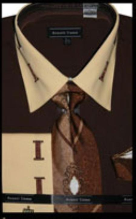 SKU#BW5550 Mens French Cuff Brown Dress Shirt with Matching Tie and Hanky $65